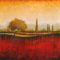"""Landscape Fine Art """"Redfield I"""" at a Scottsdale Art Gallery Original Art, Art Gallery, Fine Art, Contemporary, Landscape, The Originals, Paper, Artwork, Red"""
