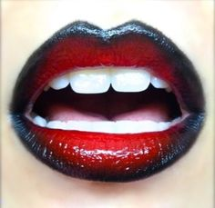 Red & Black Gradient Lips for sipping Halloween cocktails Gradient Lips, Ombre Lips, Red Lips, Black Lipstick, Makeup Tips, Beauty Makeup, Hair Makeup, Gothic Makeup, Beautiful Lips