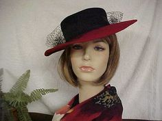 "Black and Red wide brim hat with black face veil- Geo  Bollman- Label ""ernie""- fits 21 to 21 1/2  inches"