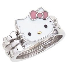 Hello Kitty Ring and like OMG! get some yourself some pawtastic adorable cat apparel! Hello Kitty Jewelry, Hello Kitty Items, Sanrio Hello Kitty, Hello Kitty Merchandise, Hello Kitty Pictures, Miss Kitty, Hello Kitty Collection, Cat Ring, Here Kitty Kitty
