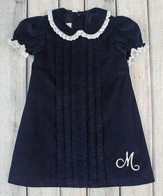 Another great find on #zulily! Navy Monogram Corduroy Ellison Dress - Infant, Toddler & Girls #zulilyfinds