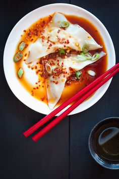 Homemade Shrimp Wontons with Spicy Sauce. Recipe & photo by Susie