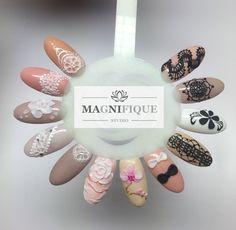 Lace Gel nail Design 3D