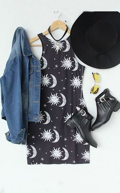 Black White Sun Moon Star Print Dress
