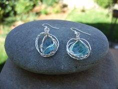 Higher heart, aqua blue Andara crystal earrings