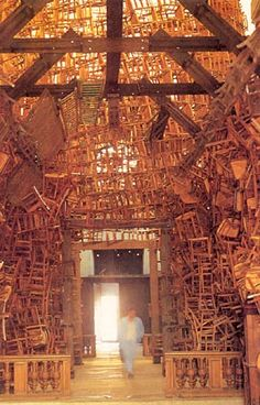 Interior of Chair Hut.  Tadashi Kawamata was born in 1953 on the island of Hokkaido and is one of the most outstanding Japanese artists. He has been winning international acclaim since 1980.