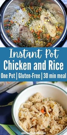 Ready in less than 30 minutes, this Instant Pot Chicken and Rice is the perfect one-pot weeknight dinner from mostly freezer and pantry ingredients. Naturally gluten-free and dairy-free, this dish will be a winner with the whole family. #instantpotchickenrecipes #instantpotrecipes #chickenbreastdinners #onepotmeal #30minmeal #glutenfree #dairyfree #feastforafraction Yummy Chicken Recipes, Rice Recipes, Recipes Dinner, Vegetable Recipes, Great Recipes, Dairy Free Recipes, Keto Recipes, Gluten Free, Healthy Recipes