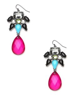 These gorgeous earrings offer a cool mix of flirty femininity and tough-chic edge. Just check out those sparkling stones, including the massive hot-pink teardrop and stud-like onyx gems.