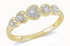 Yellow & White Gold on Silver Hearts Ring