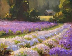 Lavender Farm Sunset, painting by Karen Whitworth
