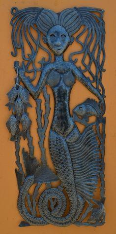 Metal mermaid art (Haiti)