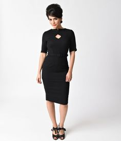 Sophia is simple sophisticated, darlings! Taking striking cues from the stunning vintage styles of the 1950s, Sophia is a beautiful wiggle dress in a gorgeous soft black woven blend. This sultry frock boasts a darling diamond keyhole with cute button up d