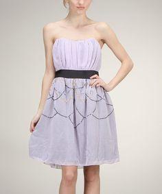 Lilac Sequin Strapless A-Line Dress