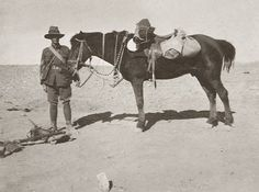 """BILLY AND ME. The notation on the back of the photograph says it all. Sergeant Martin Eccles and his trusted steed """"Billy"""" with the Wellington Machine Gun Section. Troops, Soldiers, Ww1 History, War Horses, Brothers In Arms, Lest We Forget, Rifles, Wwi, Armed Forces"""