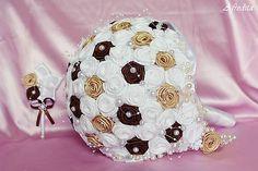 jone228 / Svadobná látková kytica bielo-čokolávodá