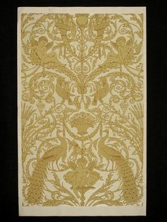 Portion of 'Peacocks and Amorini' wallpaper, featuring arabesques, peacocks, parrots, putti and cornucopia; Designed by Walter Crane; Colour print from wood blocks, on paper; Produced by Jeffrey & Co.; England; 1877.