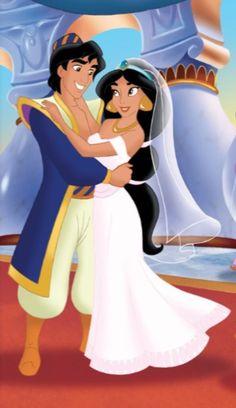 Aladdin (Disney) - Aladdin x Princess Jasmine Disney Animation, Disney Pixar, Disney Fun, Disney Magic, Disney Movies, Disney Characters, Punk Disney, Princesa Disney Jasmine, Disney Princess Jasmine