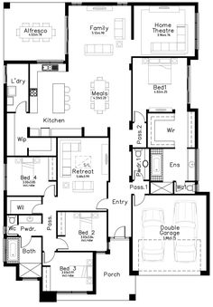 Manhattan - Dechellis Homes Sims House Plans, House Layout Plans, Family House Plans, Best House Plans, Dream House Plans, House Layouts, House Floor Plans, House Plans Australia, Pool House Designs