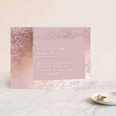The RSVP Enclosure card - 'Mill Park' is the suburb I grew up in. Simple Weddings, Gold Weddings, Real Weddings, Different Wedding Ideas, Wedding Stationery Inspiration, Gold Wedding Invitations, Mill Park, Rose Gold Foil, Rsvp