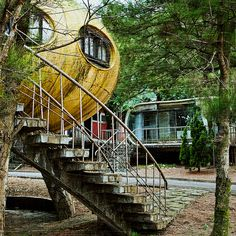 Abandoned UFO style holiday home village -Taiwan