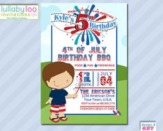 Fourth Of July Birthday Invitations 1st Birthday Invitation Template, Free Printable Invitations Templates, Boy Birthday Invitations, Party Invitations Kids, Invitation Card Design, Invites, 1st Birthday Foods, July Birthday, Girl Birthday