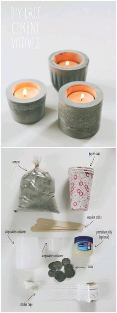 One of the best thing from a candle is you can create an awesome holder for it. Some f DIY home decor ideas provide a lot of creative idea for you who want to decor a home with candles. A candle is no Candles 17 DIY Candle Holders to Decorate Your Home Concrete Crafts, Concrete Projects, Cement Art, Diy Candle Holders, Concrete Candle Holders, Creation Deco, Ideias Diy, Candle Making, Diy And Crafts