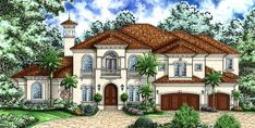 Plan Second Floor Family Room And Lanai Mediterranean House Plans, Tuscan Design, Mediterranean Home Decor, Tuscan Style, Architectural Design House Plans, Architecture Design, Florida Design, Luxury House Plans, Lanai