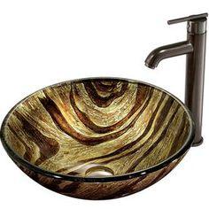 Vigo Multicolor Glass Vessel Bathroom Sink With Faucet (Drain Included
