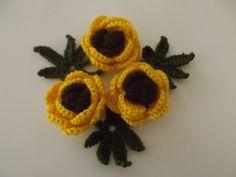 Crochet  Applique  Flowers... by zeynepmelis on Etsy