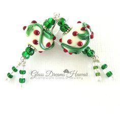 Christmas Dangle Earrings, Handmade Lampwork Jewelry, Festive Holiday Earrings, Hawaii Handmade Glass Beads, Fashion Earrings ($35) found on Polyvore