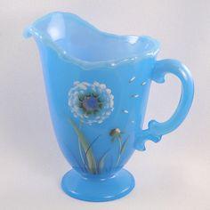 Fenton Glass Sky Blue Pitcher Dandelion Breeze Design - now on sale with other terrific Fenton items