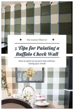 1beb53ac390a How to paint a buffalo check accent wall  gingham  diy  buffalocheck   accentwall
