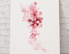 Cherry Blossom albero dipinto. Fiori rosa Idea regalo dellacquerello per le donne. Estratto del fiore di ciliegio albero dipinto. Decorazione floreale illustrazione Home.  Tipo di carta: Stampe fino a (42 x 29, 7cm) 11 x 16 pollici dimensioni vengono stampati su Archival Acid Free, 270g/m2 carta per belle arti acquerello bianco e conserva laspetto del dipinto originale. Stampe più grandi sono stampate su bianco semilucido Poster carta 200g/m2.  Colori: Archiviazione inchiostri pigme...