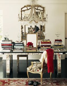 not enough ways to express how PERFECT this home office is!! The chandelier, the chair, the desk! OH MY