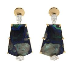 Azurite Malachite Diamond Gold Dangle Earrings | From a unique collection of vintage dangle earrings at https://www.1stdibs.com/jewelry/earrings/dangle-earrings/