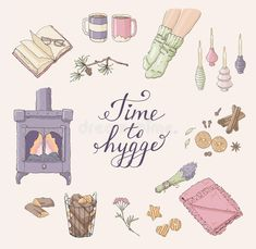 Time To Hygge. Cozy Home Things. Handdrawn Card Stock Vector - Illustration of concept, hygge: 96304620 Cute Illustration, Watercolor Illustration, Round Robin, Hand Drawn Cards, Cute Doodles, Cozy House, Graphic, Cute Drawings, Collage Art