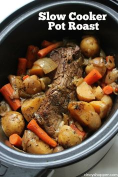 The best one I have found yet!-----Slow Cooker Pot Roast -Roast loaded with potatoes, carrots, and onions is an easy Crock-pot idea that makes for a filling meal. Juicy meat with incredible flavors. Crock Pot Slow Cooker, Slow Cooker Recipes, Cooking Recipes, Roast Beef Slow Cooker, Game Recipes, Crock Pot Roast Beef, Crockpot Ideas, Slower Cooker Recipes Healthy, Rib Roast Recipe Crock Pot