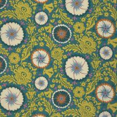 Tela de patchwork de color verde con preciosas flores circulares.  Tela de la famosa diseñadora Anna Maria Horner.