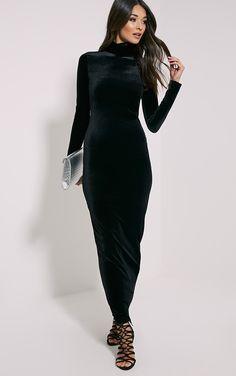 Cindy Black Turtle Neck Velvet Maxi Dress