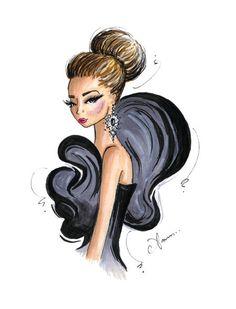 Grabado de la ilustración de moda, chica Glam