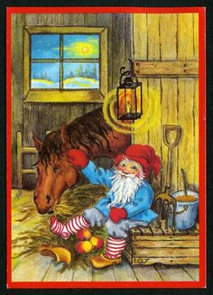"""Julkort av Ingrid Elf som 2014 illustrerade """"Tomten"""" i en nyutgåva."""