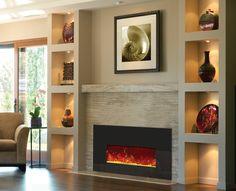 "Amantii 26"" Electric Fireplace Insert - Black Glass Surround - Rakish Flames https://emfurn.com/"