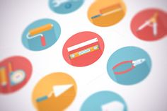 Check out Flat construction and tools icon set by painterr on Creative Market