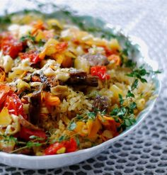 Oven roasted Veggie Rice | Here's a quick, easy, recipe for a beautiful rice medley to serve with anything grilled… especially lovely with fresh grilled shellfish or scallops! So many veggies in this pretty little dish, you don't really need a salad, but I always like to serve a crunchy, cold salad for contrast and texture…| From: chindeep.com