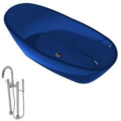 Anzzi Ember 5.4-foot Man-made Stone Slipper Soaker Bathtub in Regal Blue with Sol Faucet in Chrome (Grey) (Translucent), Size 60 to 65 inches