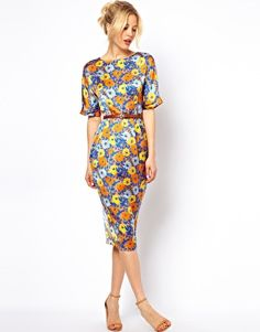ASOS Soft Wiggle Dress In Floral Print With Belt... Love these colors