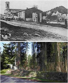 A combination picture shows views of the village of Ornes near Verdun, in 1916 after a German offensive and in March, 2014. Where once stood buildings are now just tree lined roads.