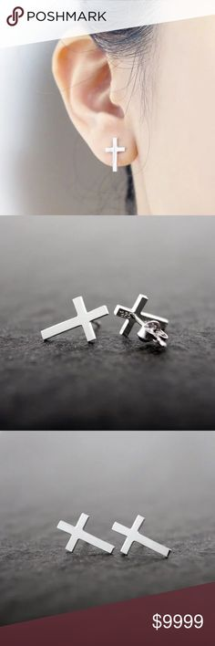 COMING SOON Beautiful silver cross earrings. Simple but lovely and dainty. Jewelry Earrings