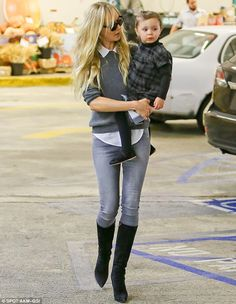 Stylish for the supermarket: Kimberley Stewart and her daughter Delilah struck a stylish duo as they visited Wholefoods in Beverly Hills on Tuesday