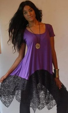 PURPLE BLACK BLOUSE TOP LACE ASYM - FITS - PLUS 4X 5X 6X - B547 LOTUSTRADERS LOTUSTRADERS. $50.99